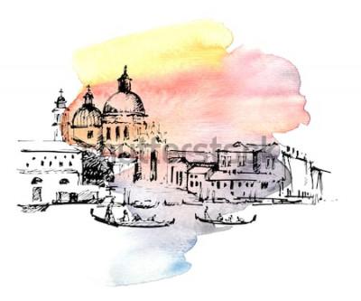 Vinilo Calles de Venecia con góndola, Italia. Bosquejo drenado mano en fondo colorido de la acuarela.