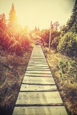 Vinilo Camino de madera de la montaña estilizada retro en montañas en la puesta del sol.