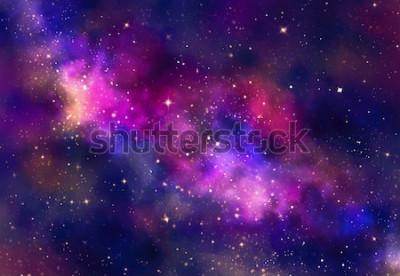 Vinilo Campo de estrellas en el espacio de la galaxia con nebulosa, acuarela abstracta pintura de arte digital para el fondo de textura