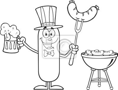 Carácter de dibujos animados patriótico de la salchicha vinilos para ...