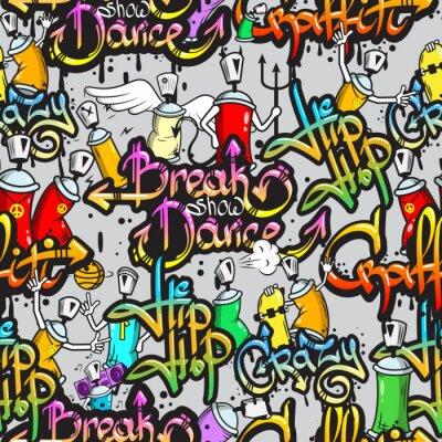 Vinilo Caracteres de Graffiti seamless pattern