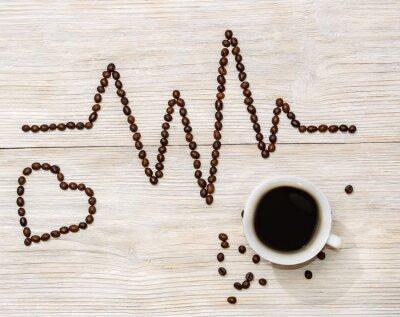 Vinilo Cardiograma y el corazón establecido granos de café con una taza de café