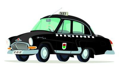 Vinilo Caricatura GAZ Volga M21 de taxi Praga - Checoslovaquia vista frontal y lateral negro