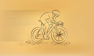 Vinilo Carrera de ciclismo. Vector retro dibujo ilustración.
