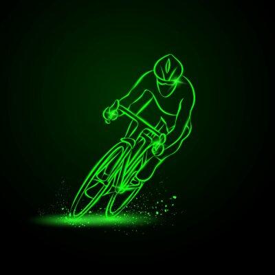 Vinilo Carrera de ciclismo. Vista frontal. Vector la ilustración de neón.