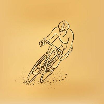 Vinilo Carrera de ciclismo. Vista frontal. Vector retro dibujo ilustración.