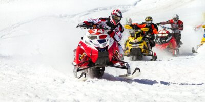 Vinilo carrera de motos de nieve
