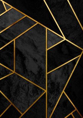 Vinilo Cartel abstracto moderno y elegante del diseño con las líneas de oro y el modelo geométrico negro.