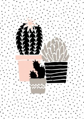 Vinilo Cartel dibujado mano del cactus impresiones