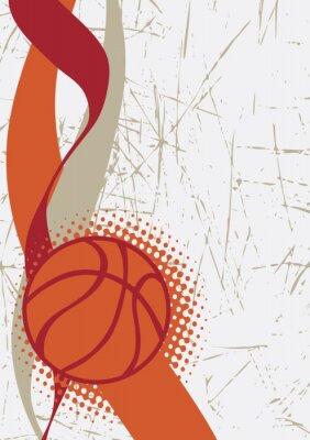 Vinilo Cartel vertical del baloncesto. Fondo abstracto