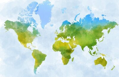 Vinilo Cartina mondo, disegnata illustrata pennellate