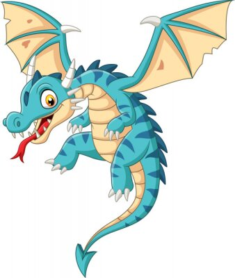Vinilo Cartoon baby dragon flying on white background