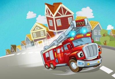Vinilo cartoon fire brigade driving through the city - illustration for children