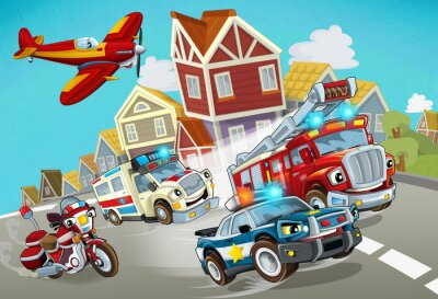 Vinilo cartoon scene with fireman vehicle on the road with police car and ambulance - illustration for children