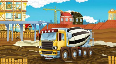 Vinilo cartoon scene with industry cars on construction site - illustration for children