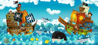 Vinilo cartoon scene with pirates on the sea battle - illustration for the children
