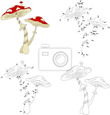 Casa de hongos de dibujos animados. libro para colorear y juego ...