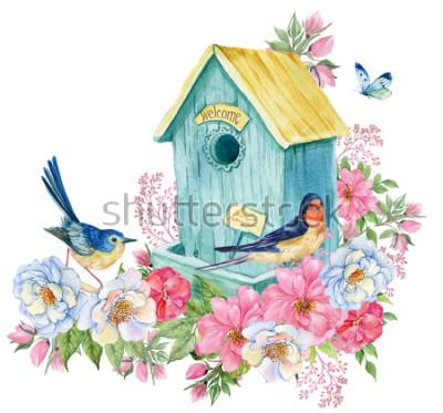 Vinilo Casa de los pájaros, golondrina y pájaro azul, mariposa. Tarjeta de primavera ilustración acuarela.
