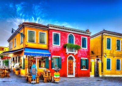 Vinilo casas de colores en un sin procesar en la isla de Burano, cerca de Venecia Italia. HDR