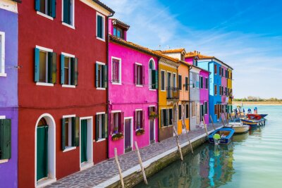 Vinilo Casas pintadas de Burano, en la Laguna de Venecia, Italia.