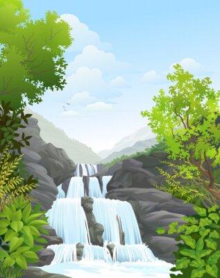 Vinilo Cascada en el Tropical Rain Forest
