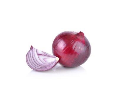 Vinilo Cebolla roja sobre fondo blanco