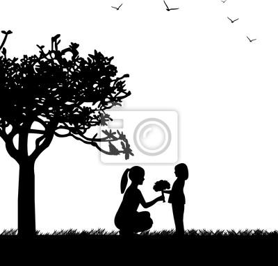 Celebración Del Día De La Madre Entre Madre E Hija Silueta Vinilos