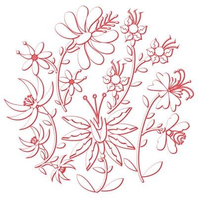 Vinilo Celebración día folk y recorte de bordado inspirado en la cultura de Europa oriental forma redonda en blanco con elementos florales con trazo rojo con efecto 3D