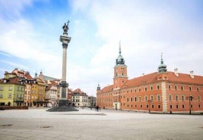 Vinilo Centro de la ciudad de Varsovia con el castillo real, capital de Polonia