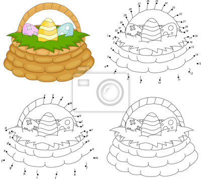 Cesta de dibujos animados con huevos de pascua. libro para colorear ...