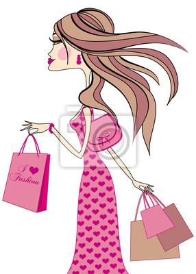 dbcb7968aa552 Vinilo chica de moda con bolsas de la compra