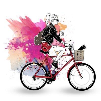 Vinilo Chica de moda en estilo de dibujo sobre fondo de colores.