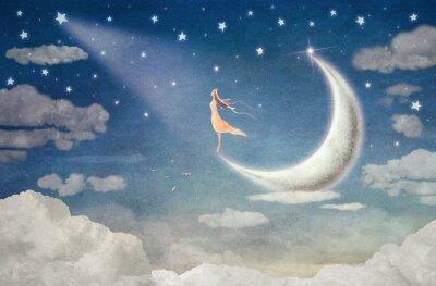 Vinilo Chica en la luna admira el cielo nocturno - ilustración de arte
