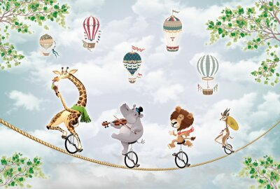 Vinilo children's picture, animals on a wheel ride on a tightrope against the sky with balloons