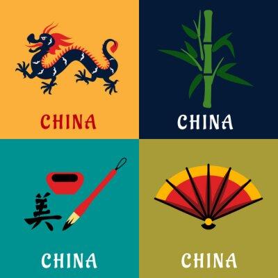 Vinilo China cultura y la tradición plana iconos