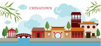 Vinilo Chinatown Edificio y Parque, Viajes, Ciudad, Cultura tradicional