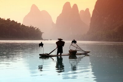Vinilo Chinese man fishing with cormorants birds