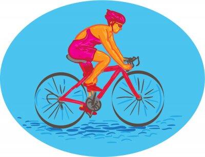 Vinilo Ciclista femenina que monta el dibujo de la bici
