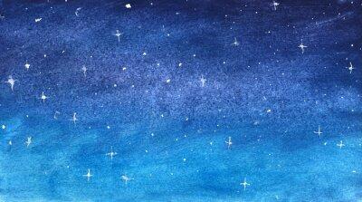 Vinilo Cielo azul estrellado en acuarela
