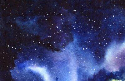Vinilo Cielo estrellado de la noche Dibujado a mano en una ilustración de acuarela real de papel mojado.