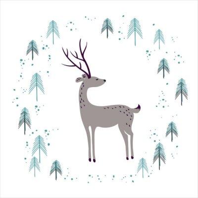 Vinilo Ciervo en el bosque de pino de invierno aislado en blanco.