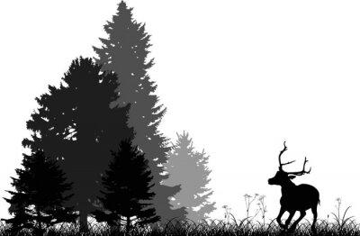 Vinilo Ciervo negro corriendo al bosque de abeto aislado en blanco