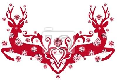 Ciervos De La Navidad Con Copos De Nieve Vector Vinilos Para - Ciervo-navidad