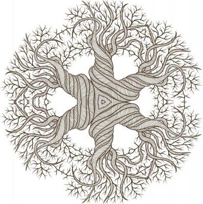 Vinilo Circular de adorno de árbol abstracto con el barril de curling.