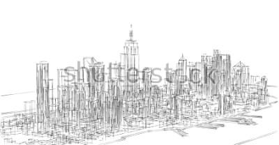 Vinilo city, panorama, 3d illustration