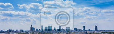 Vinilo City skyline background. Aerial view of Warsaw capital city of Poland. From above, city view. Panorama of Warsaw cityscape. Europe. Aerial view