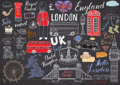 Vinilo Ciudad de Londres garabatos elementos colección. Conjunto de dibujado a mano con, puente de la torre, la corona, ben grande, guardia real, autobús rojo, Reino Unido mapa y la bandera, olla de té, letr