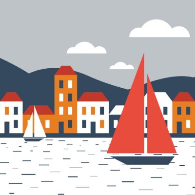 Vinilo Ciudad junto al mar