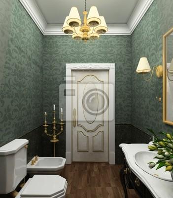 Clásico diseño interior del cuarto de baño. 3d render vinilos para ...
