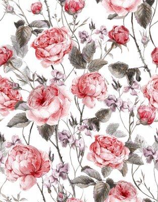 Vinilo Classical vintage floral seamless pattern, watercolor bouquet of